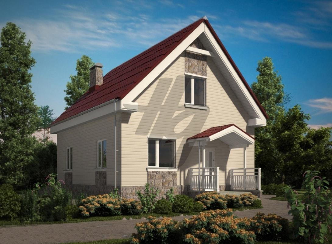 Проект дома из сип панелей 107 м2 вид спереди