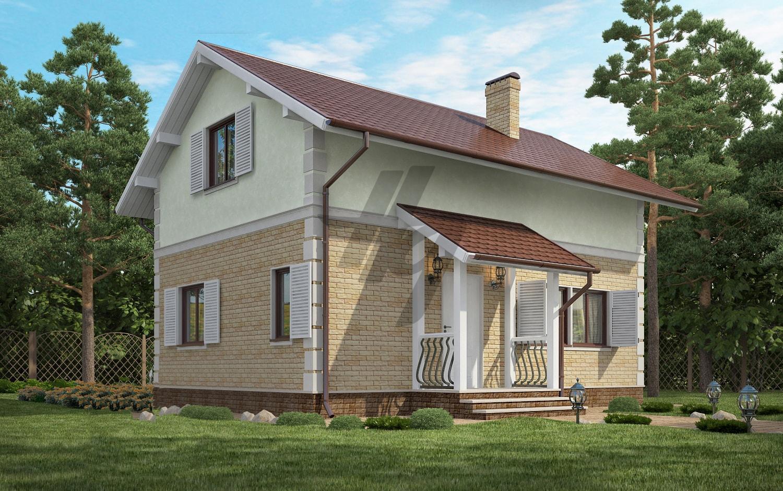 Проект дома из сип панелей 112 м2 вид спереди