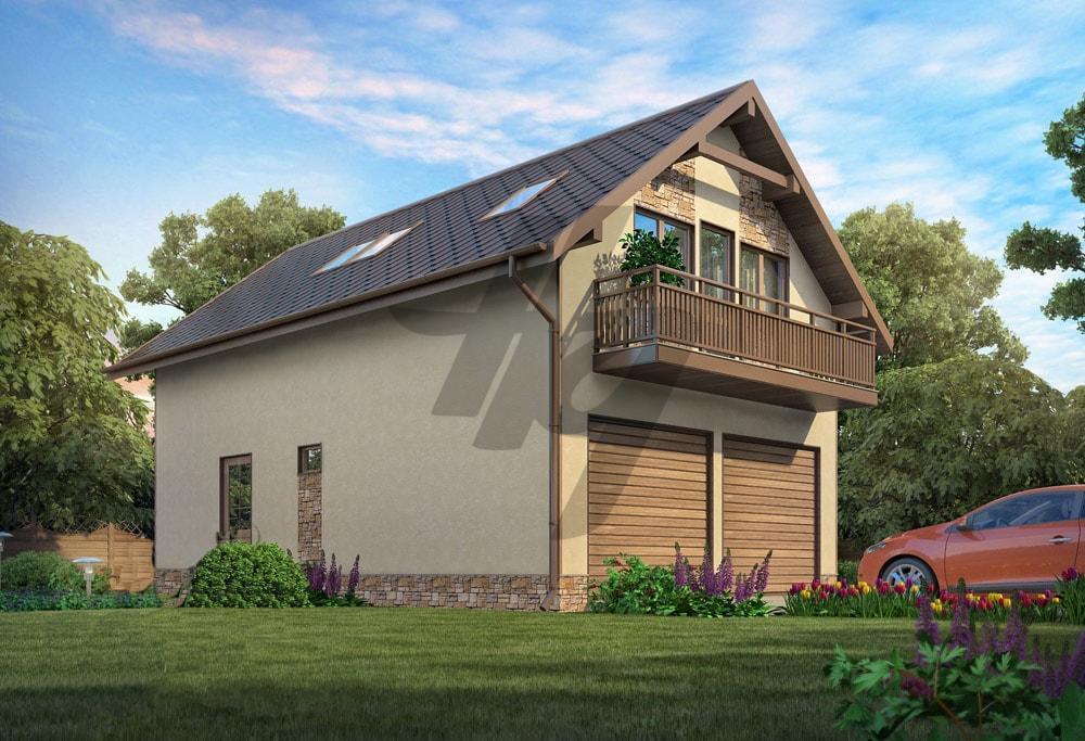 Проект дома из сип панелей 128 м2 вид спереди