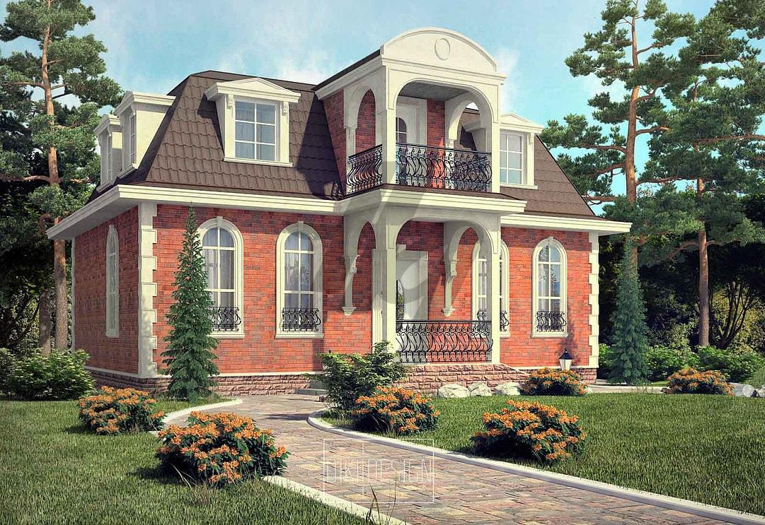 Проект дома из сип панелей 139 м2 вид спереди