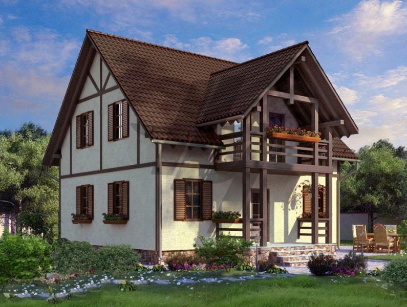 Проект дома из сип панелей 143 м2 вид спереди