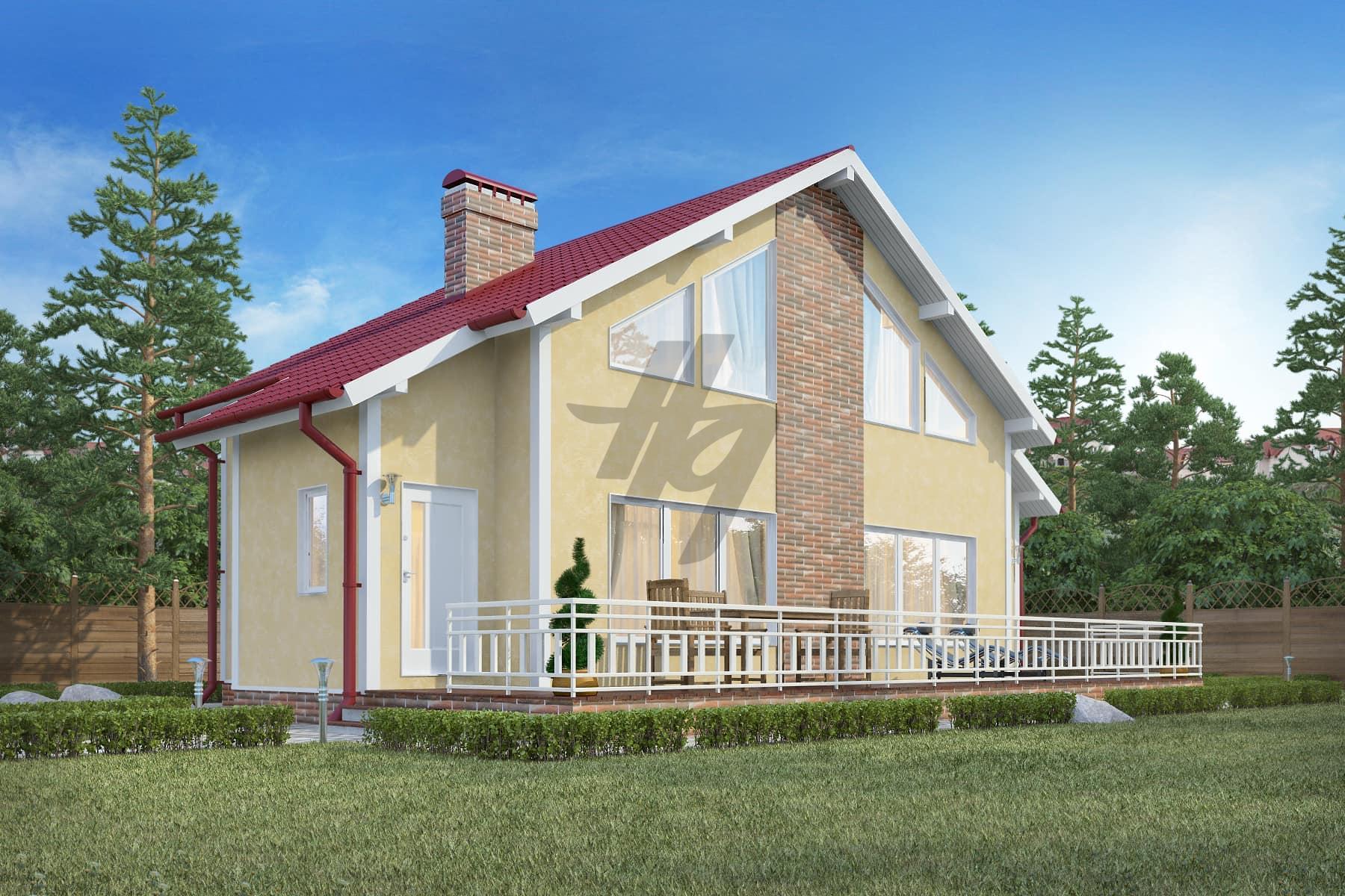 Проект дома из сип панелей 160 м2 вид спереди