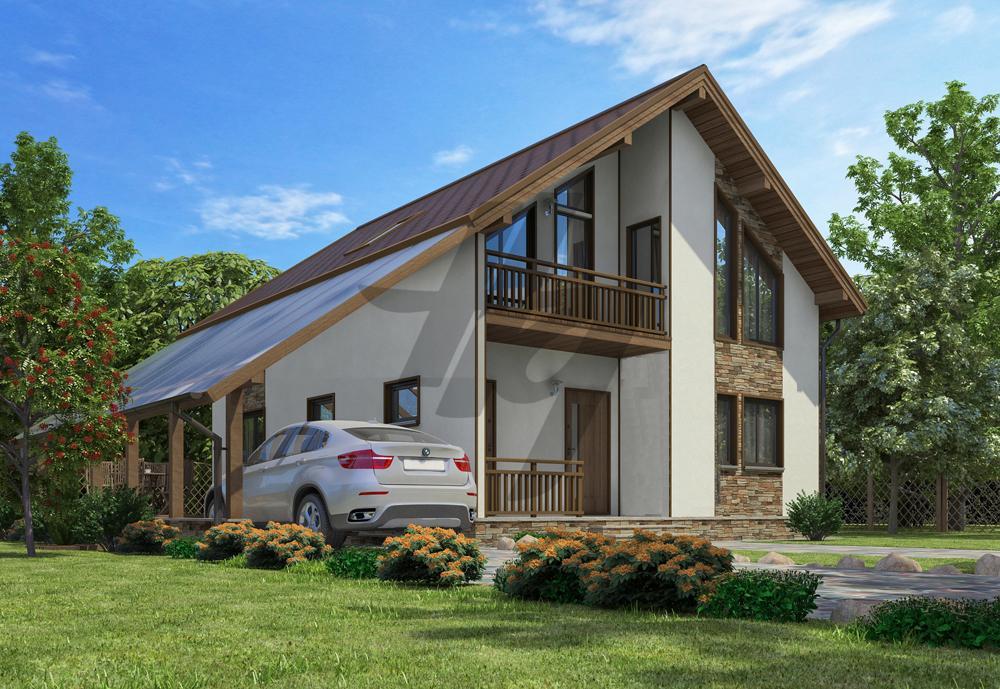 Проект дома из сип панелей 175 м2 вид спереди