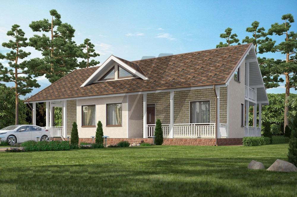 Проект дома из сип панелей 318 м2 вид спереди