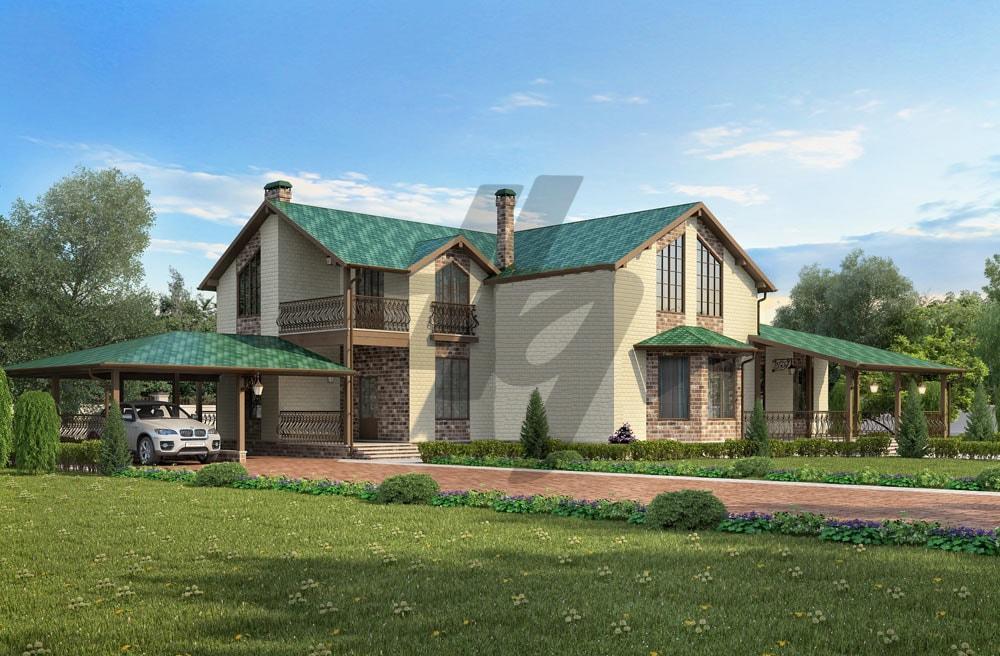 Проект дома из сип панелей 448 м2 вид спереди