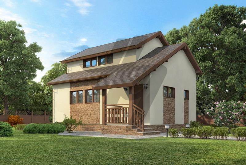 Проект дома из сип панелей 70 м2 вид спереди